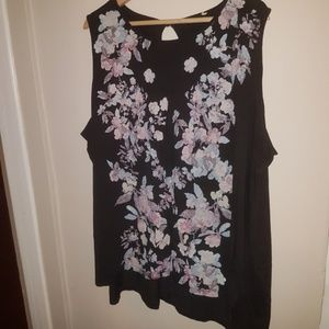 Tops - Floral Front Sleeveless Blouse 3X